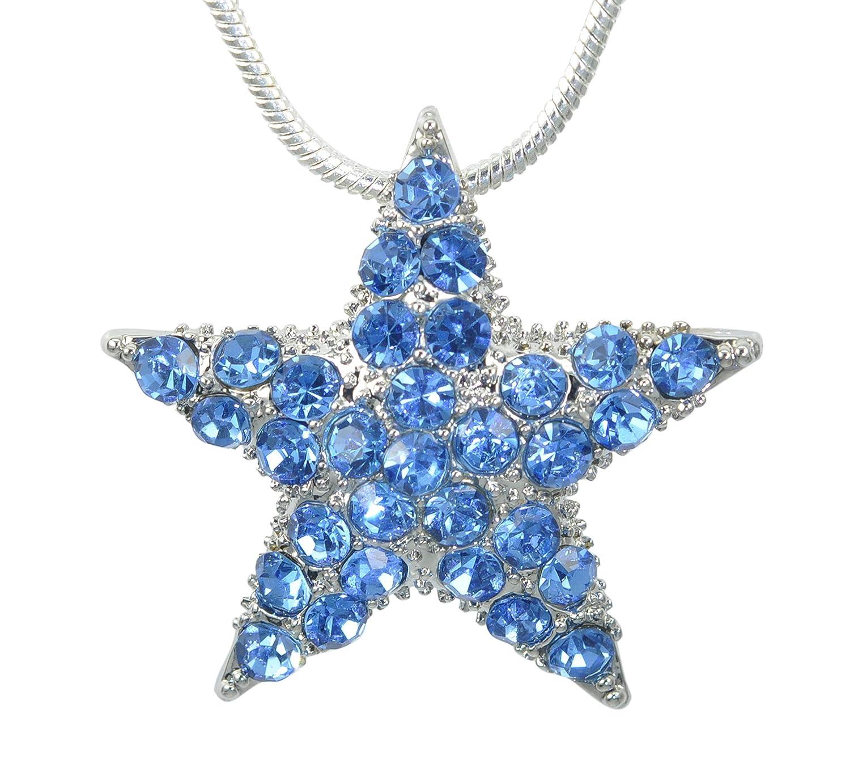 Gyn/&Joy Silver Tone Blue Austria Crystal Twinkle Bling Star Pin Brooch Pendant Chain Necklace BZ193