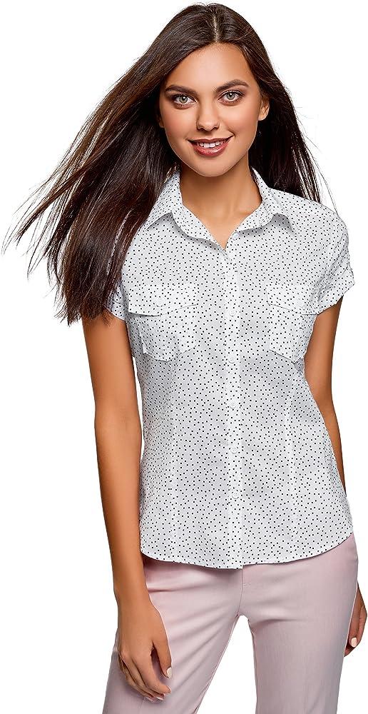 oodji Ultra Mujer Camisa Estampada de Algodón, Blanco, ES 34 / XXS: Amazon.es: Ropa y accesorios
