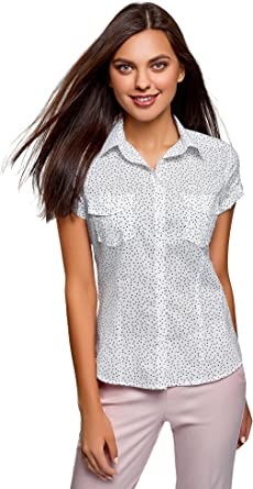 oodji Ultra Mujer Camisa Estampada de Algodón