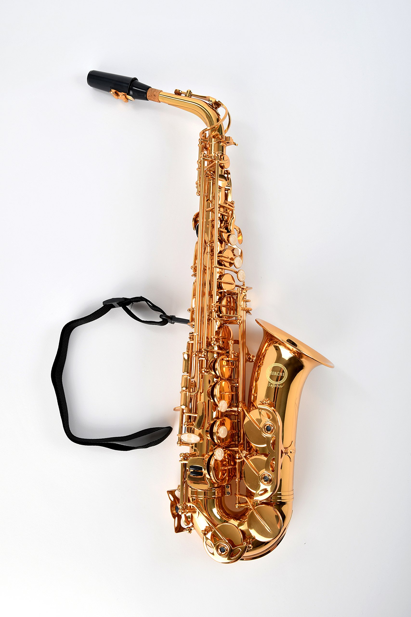 NEW! Herche Superior Alto Saxophone AS-630 Best for Students - Durable forged keys -Plush lined Saxophone BackPack Case - Leather Pads - Cork Grease - Saxophone Neck Strap - #2 Rico Saxophone Reeds