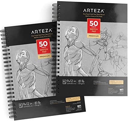 Spiral Toned Tan 50 Paper Sheets Sketch Book Pad Art Supply Drawing Sketchbook