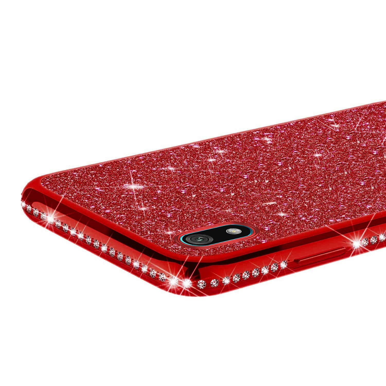 Herbests Custodia compatibile con Huawei Y5 2019 Cover Case Brillantini Bling Paillettes Custodia Diamante a Strass TPU Silicone Bumper Case Slim Protettiva Antiurto Cover,Viola