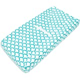 TL Care Heavenly Soft Chenille Fitted Contoured Changing Pad Cover, Aqua Sea Wave, for Boys and Girls