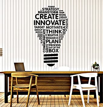 Amazoncom Vinyl Wall Decal Lightbulb Inspire Words Business - Vinyl wall decals business