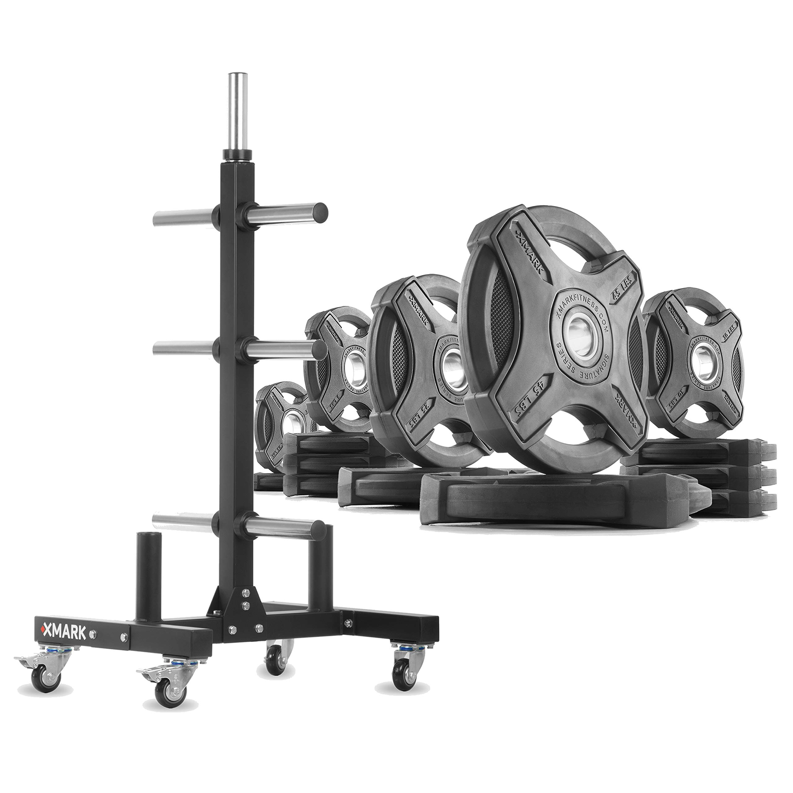 XMark XM-9055 Commerical Olympic Weight Tree Plus a 205 lb Set of Signature Olympic Plates by XMark
