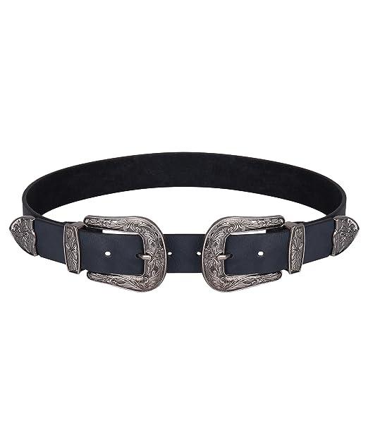 KRISP Cinturón Negro Doble Hebilla Plateadas Cowboy Oeste Western ...