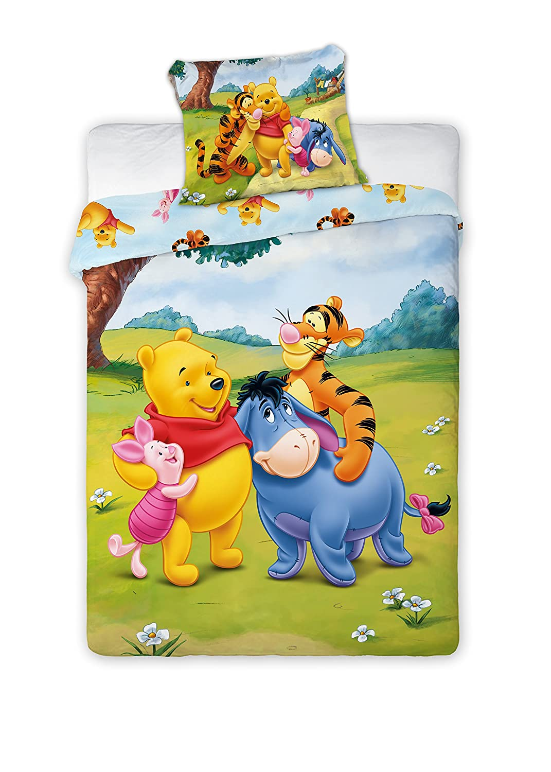 Children's bed linen, with Disney Winnie the Pooh motif, 2-piece set, 100 x 135 cm and 40 x 60 cm Children's bed linen TFBBK