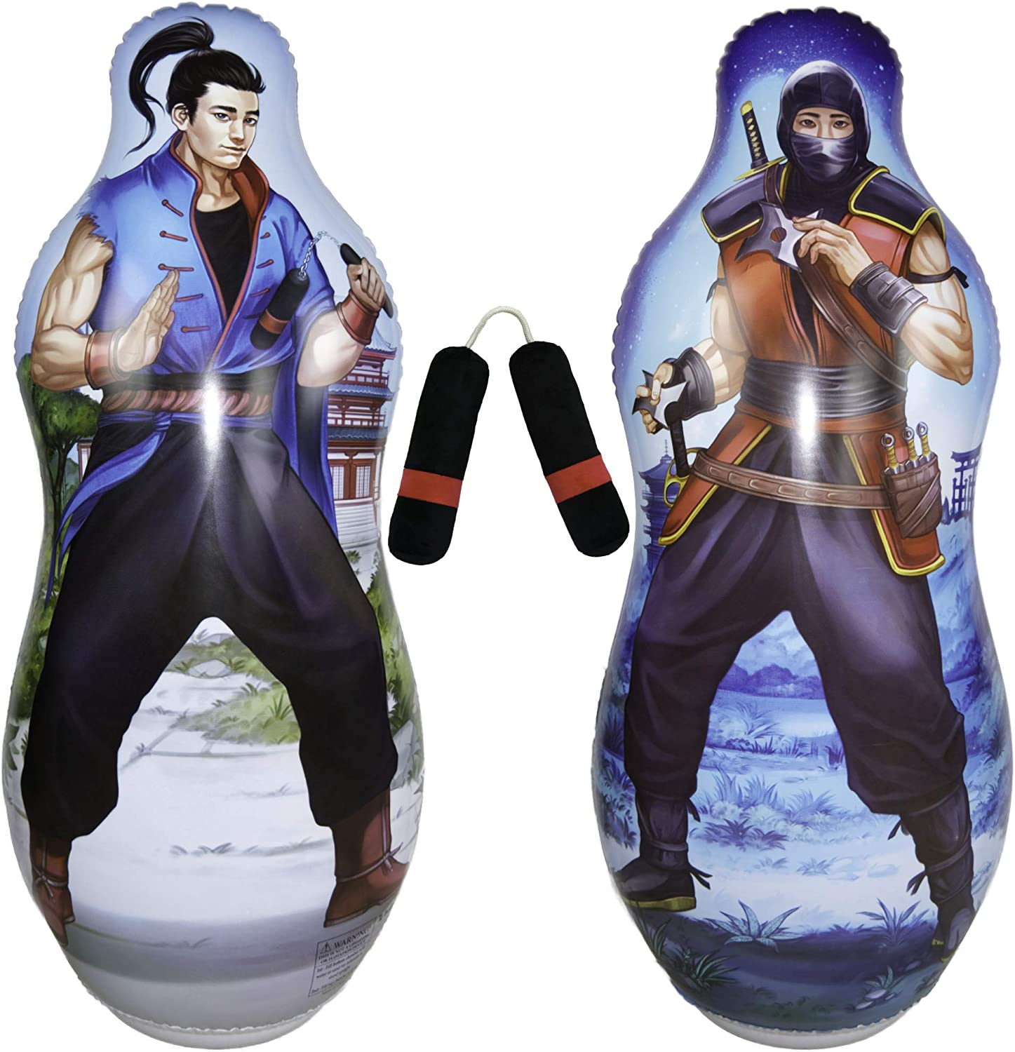 "Inflatable Two Sided Punching Bag & Plush Nun-chuck Set | Includes one 48"" Tall Bop Bag (Ninja Illustration on Front and Kung Fu Master on Back) Plus One Soft Nun-chuck 