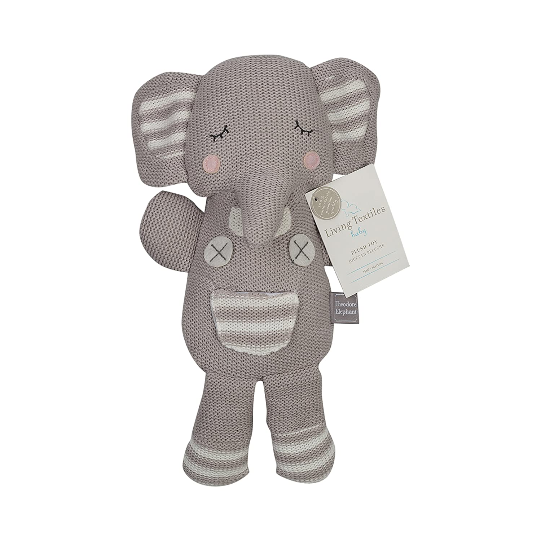 Amazon.com: Living Textiles Grey Theodore Elephant Plush (Knit): Baby