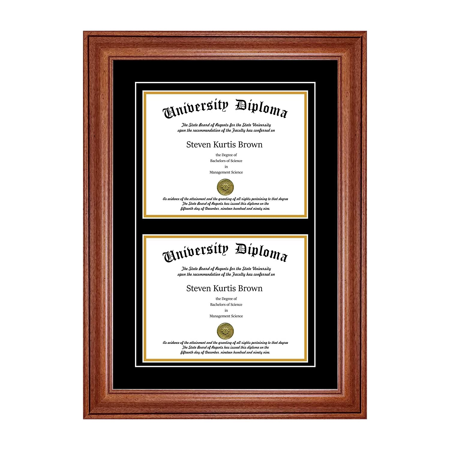 Double Diploma Frame with Double Matting for 9 x 7 Tall Diploma with Black 3//4 Frame