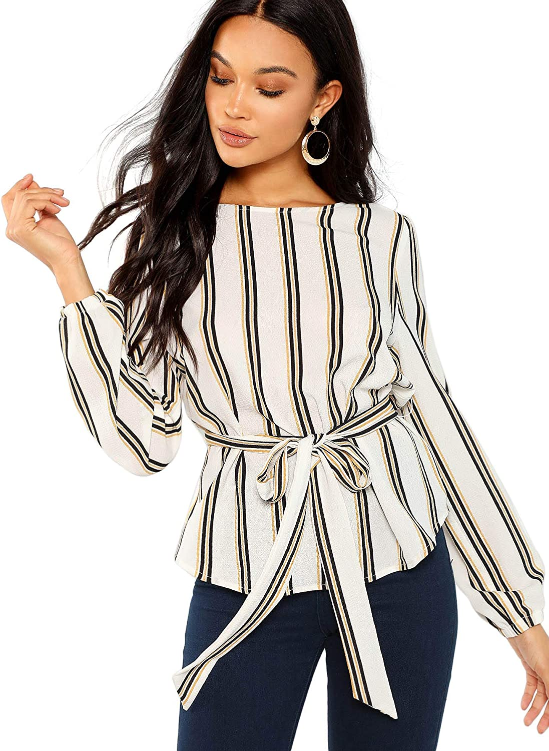 ROMWE Women's Self Belted Striped Print Casual Blouse Top Shirt