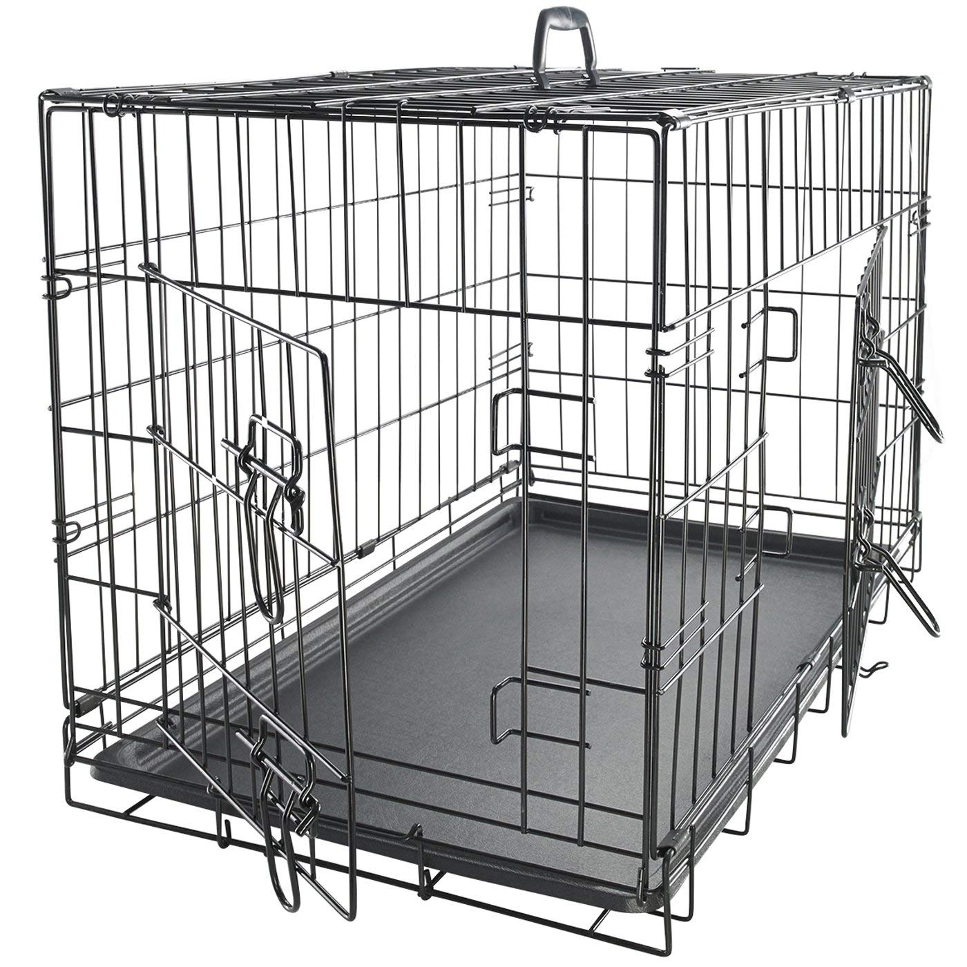 Dog Crate Double-Door Folding Metal - Wire Cage w/Divider & Tray for Training Pets - 2019 Newly Designed Model