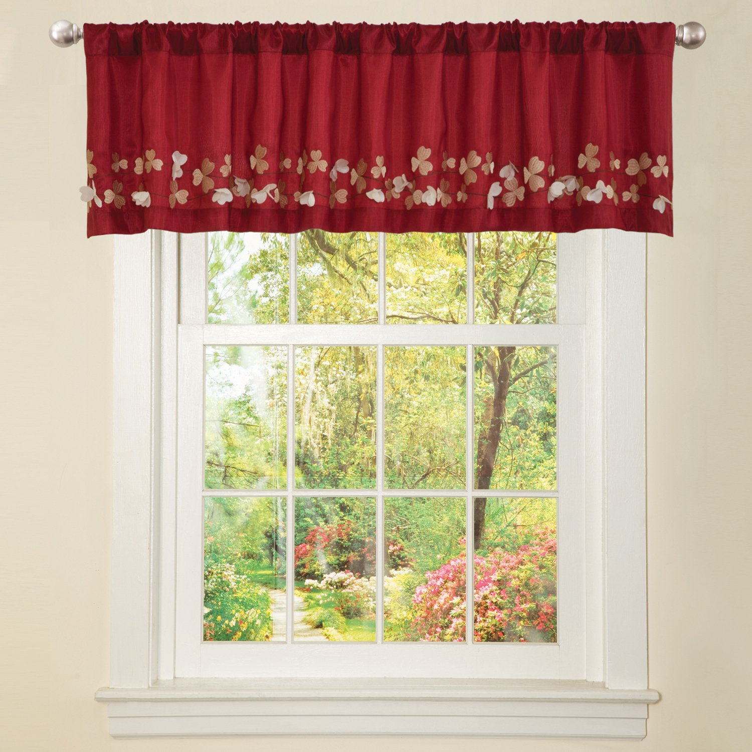 Triangle Home Fashions Lush Decor Flower Drop Valance Red Amazonca Kitchen