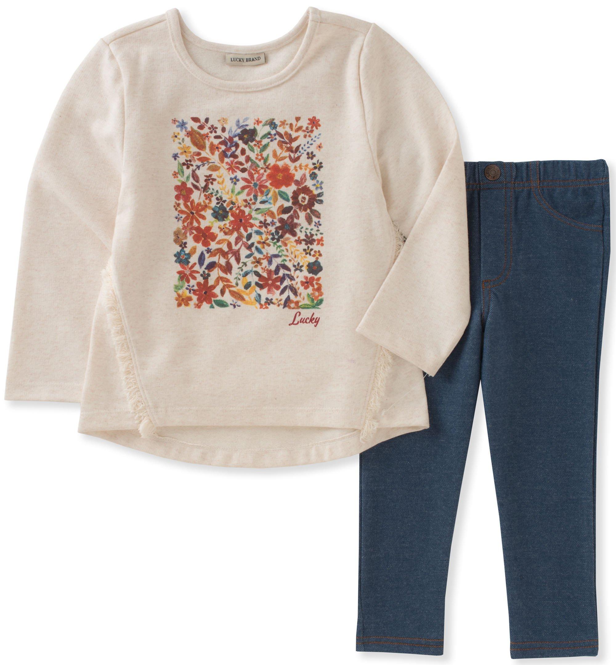 Lucky Brand Baby Girls' Legging Set, Oatmeal/Blue, 12M