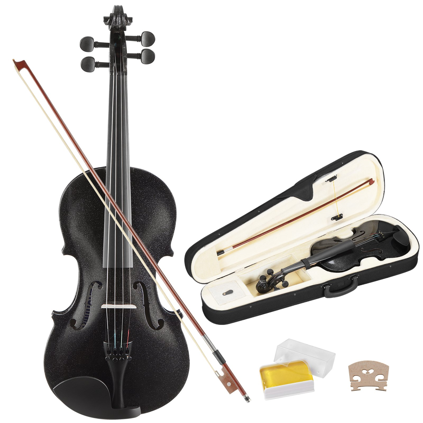 LAGRIMA 4/4 Acoustic Violin, Solid Wood Handcrafted Violin with Hard Case, Bow, Rosin for Beginner Full Size(Black-Plywood)