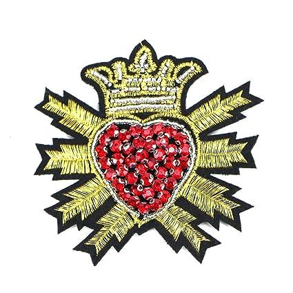 7dd31a01e2 Amazon.com: Monrocco 2 pcs Crown Patches Rhinestone Beads Heart ...