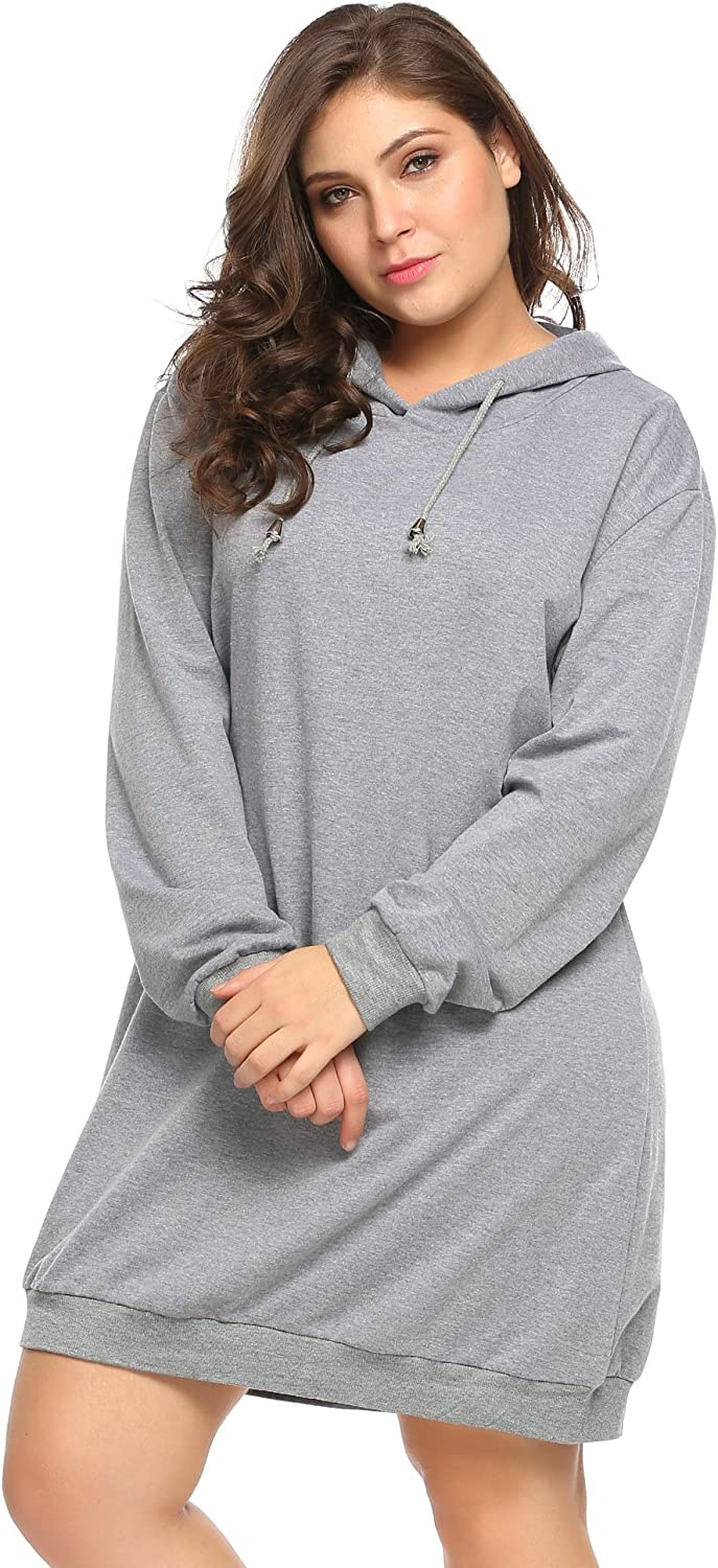 Rrive Womens Solid Color Loose Plus Size Long Sleeve Pullover Sweatshirt Top