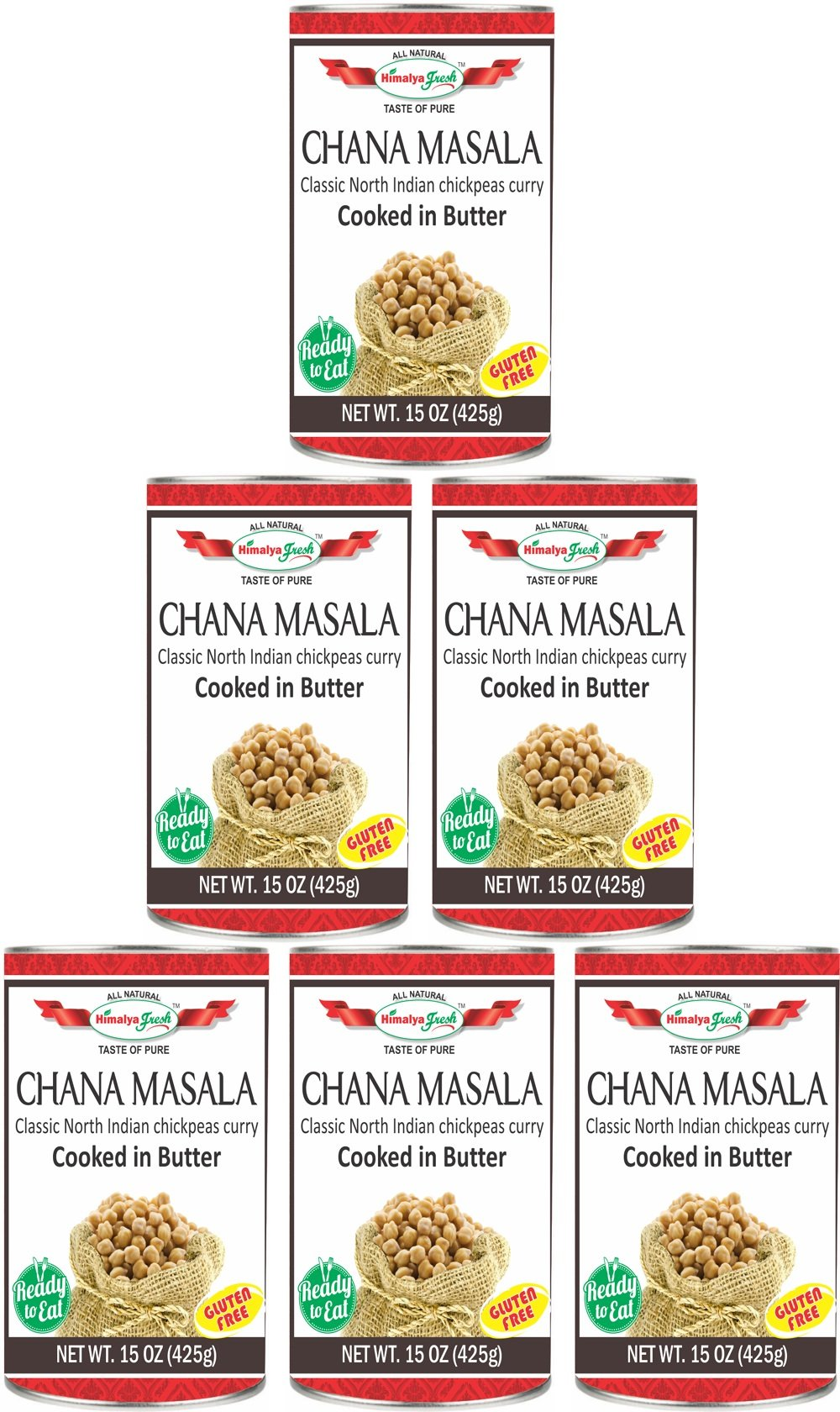 HIMALYA FRESH Authentic Indian Food Ready To Eat Canned Chana Masala, All Natural 6 Cans/15 Oz Ea. - Gluten Free Chickpeas Curry Cooked In Butter - Vegetarian, No Fillers Or Preservatives