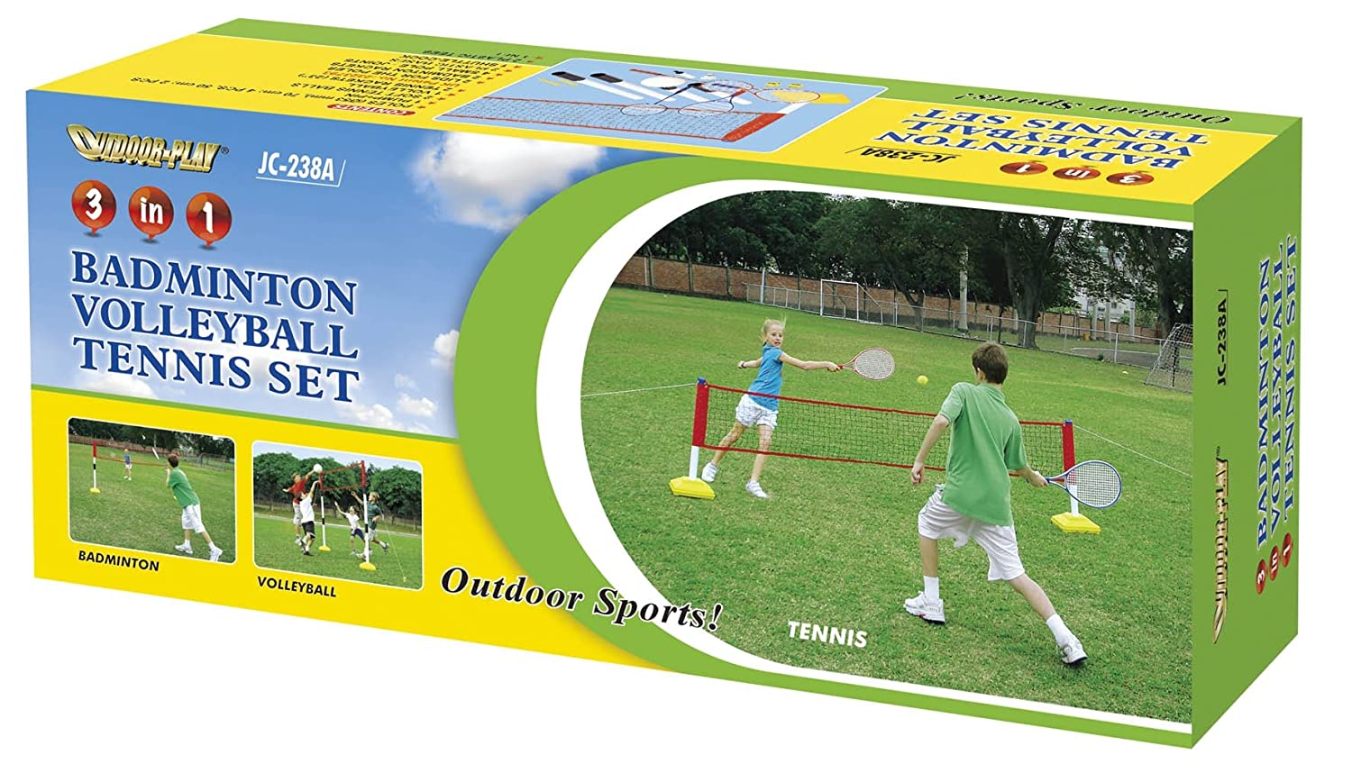 3 In 1 Badminton Volleyball and Tennis Training Game Set kids garden sport kit childrens games JLS