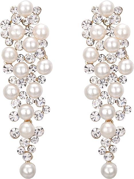 New Statement Diamante Cluster Hoops Balees Earrings Bridal Elegant Classic Gift