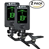 (2Pack) Hantwin Chromatic Guitar Tuner 360 degree Rotational Electronic Digital Tuner Easy to Use Highly Accurate Clip-on Tuner - Suitable for Acoustic and Electric Guitar Bass Violin Ukulele