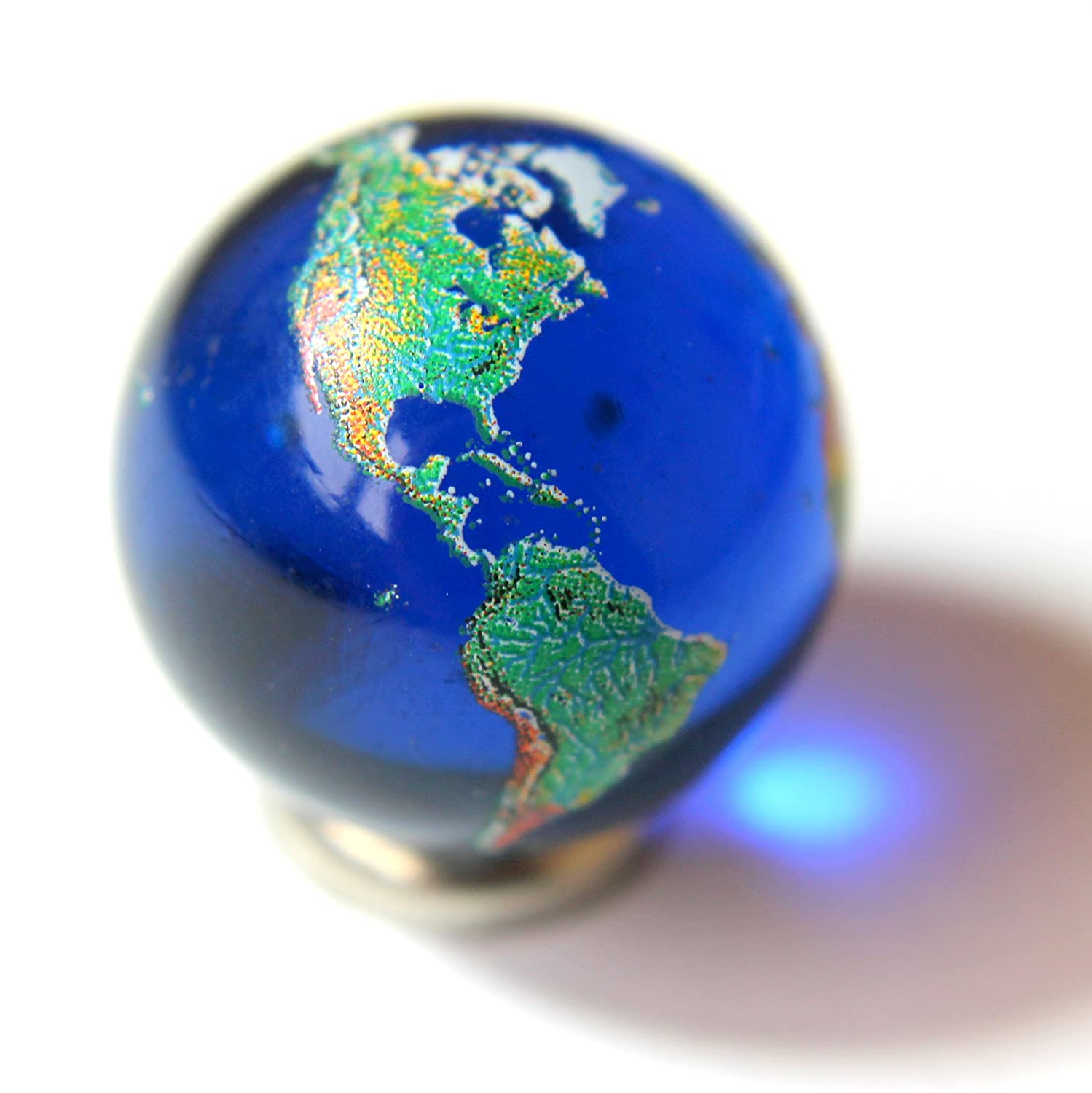 22mm Detailed Solid Glass Earth Globe Marble /& Stainless Steel Stand 0.9 Cosmic World Planet Gaea Terra