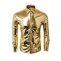 Cusfull Men's Metallic Silver Shirt Nightclub Styles Long Sleeves Button Down Dress Shirts Shiny Slim Fit Disco Dance Tops Costume Party Clubwear Halloween/Cosplay Costume