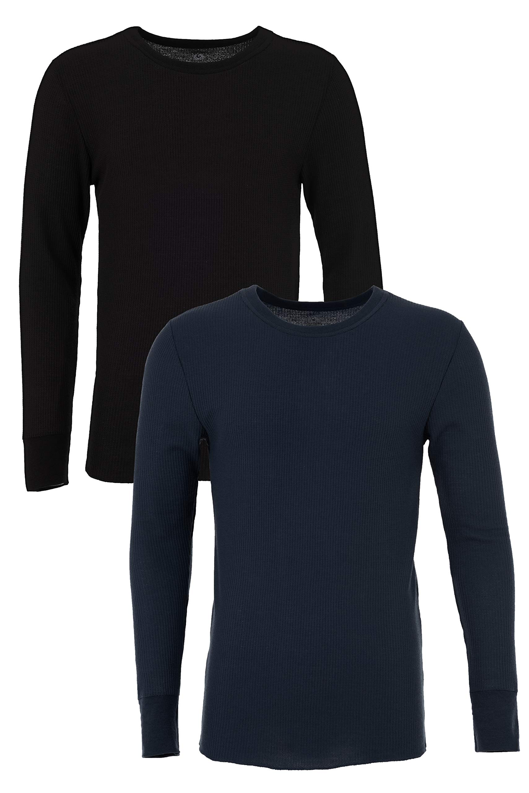 Fruit of the Loom Men's Classic Midweight Waffle Thermal Top (2 Pack), Navy/Black soot, Small by Fruit of the Loom