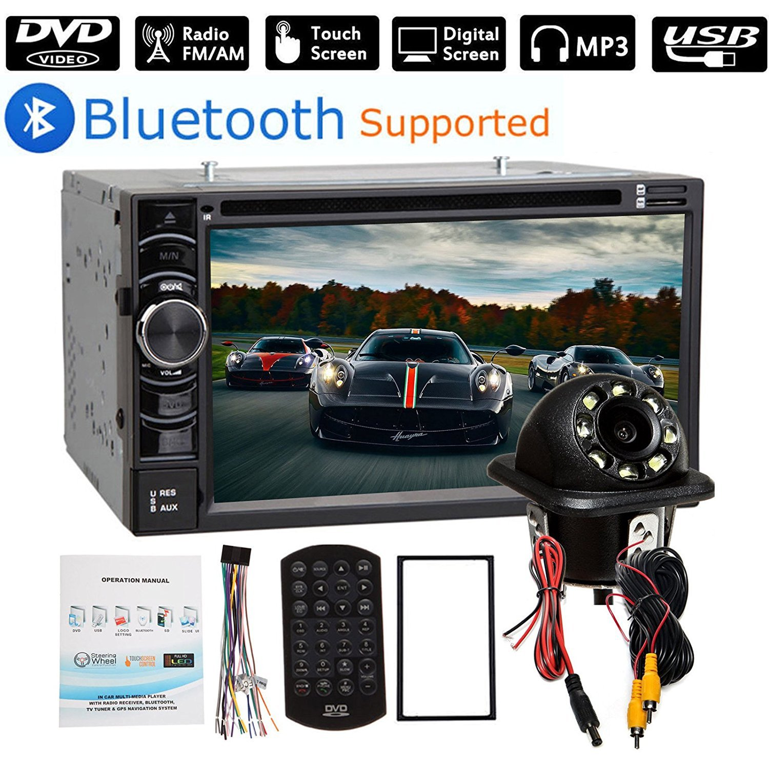 """2 Din Car Stereo Bluetooth 6.2"""" Touch Screen with Backup Camera Rear View, USB/SD/AM/FM Audio Video Player + Steering Wheel Control"""