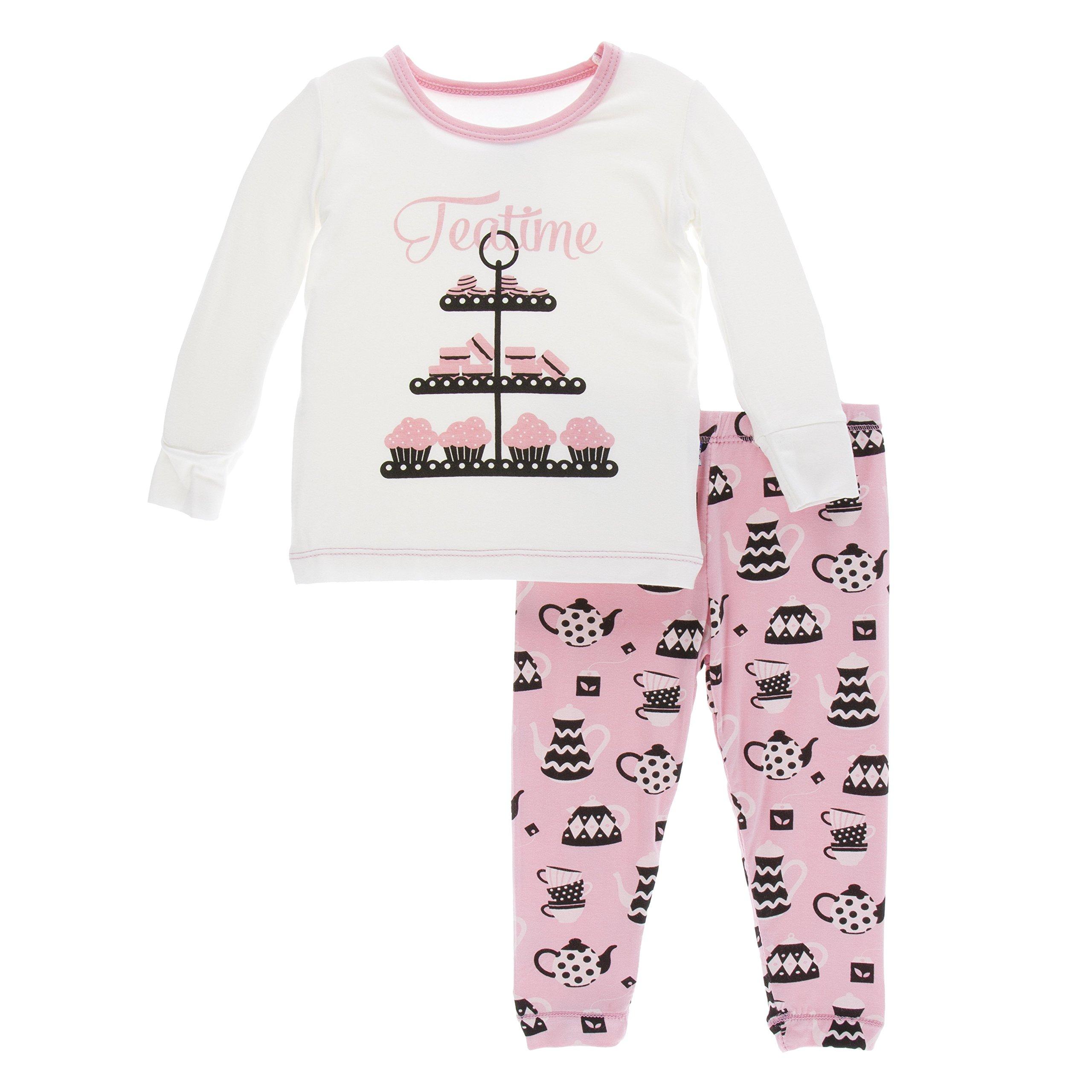 Kickee Pants Little Boys Print Long Sleeve Pajama Set, Teatime, Boys 5 Years