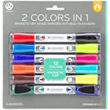 U Brands Low Odor Magnetic Double Ended Dry Erase Markers With Erasers, Bullet Tip, Assorted Colors, 6-Count