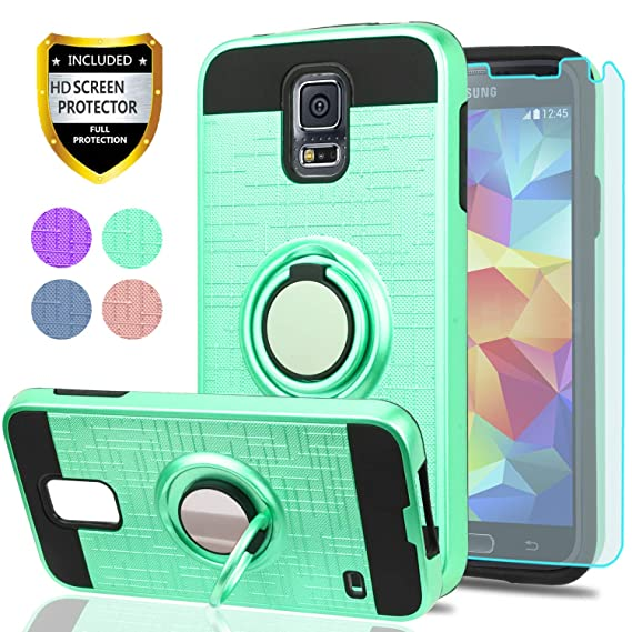 release date f2a63 22665 S5 Case,Galaxy S5 Phone Case with HD Screen Protector, YmhxcY 360 Degree  Rotating Ring & Bracket Dual Layer Shock Bumper Cover for Samsung Galaxy S5  ...