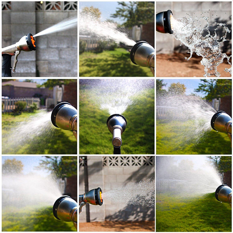 Cookey Garten Handbrause Reinigung 9 Muster Verstellbare Garten-Spritzpistolen Hochdruck Gartenbrause Perfekt f/ür Auto Waschen Bew/ässerung Rasen und Garten