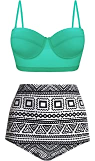 7aecf4a35ee0 UniSweet Women Vintage Polka Dot High Waisted Bikini Set Two Piece  Swimsuits (Womens Size)