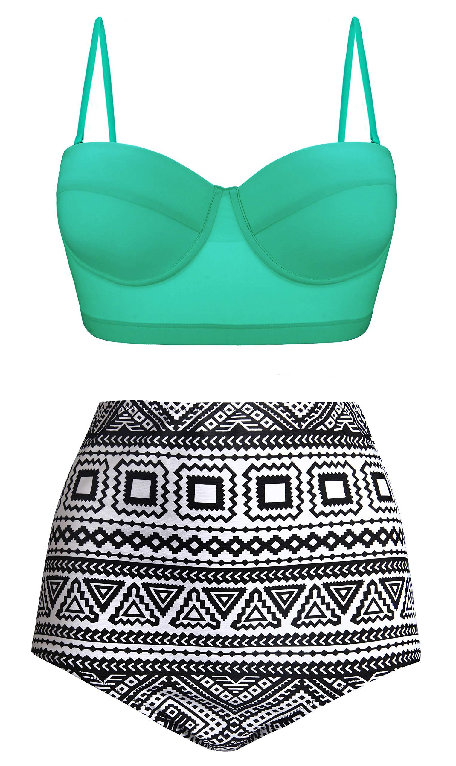 ff65b27eb54 Angerella Women Vintage Polka Dot High Waisted Bathing Suits Bikini Set
