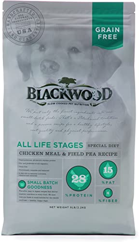 Blackwood Pet Food 22310 All Life Stages, Special Diet, Grain Free, Chicken Meal Field Pea Recipe, 5Lb.