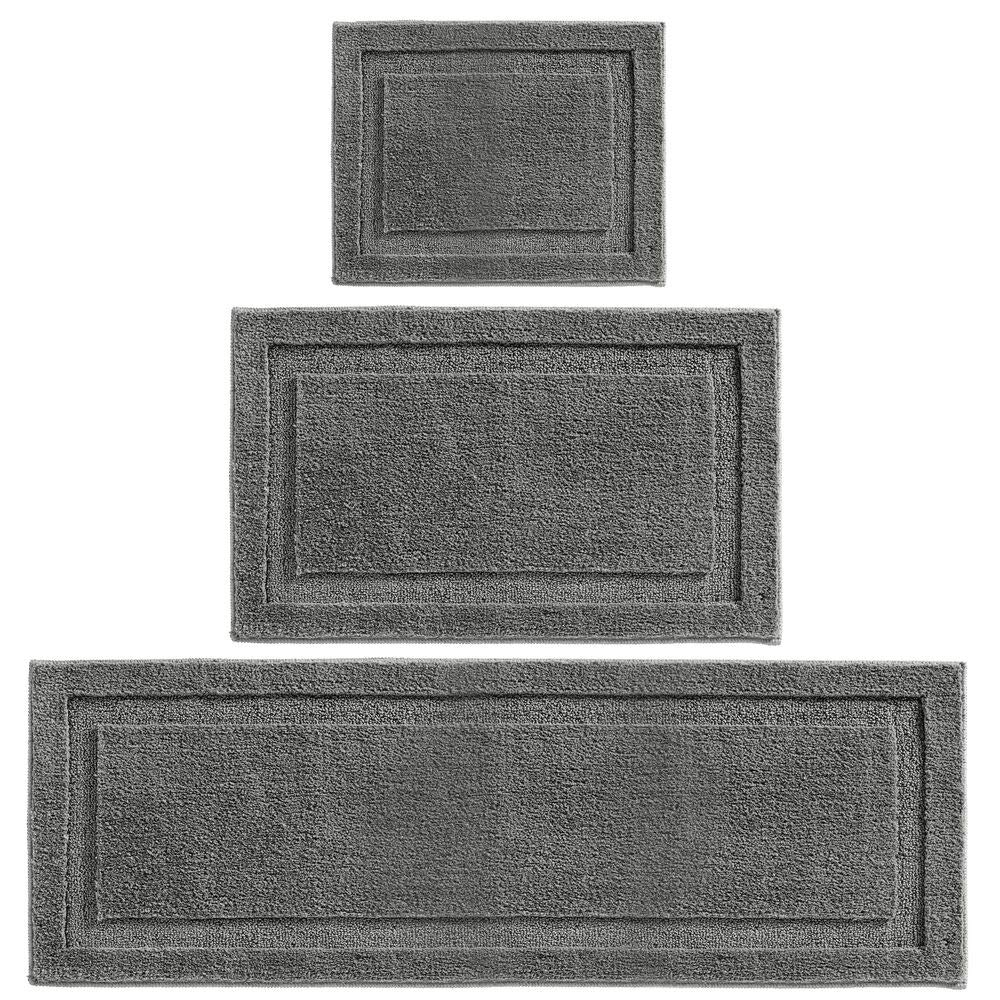 mDesign Soft Microfiber Polyester Spa Rugs for Bathroom Vanity, Tub/Shower - Water Absorbent, Machine Washable - Includes Plush Non-Slip Rectangular Accent Mats in 3 Sizes - Set of 3 - Charcoal Gray