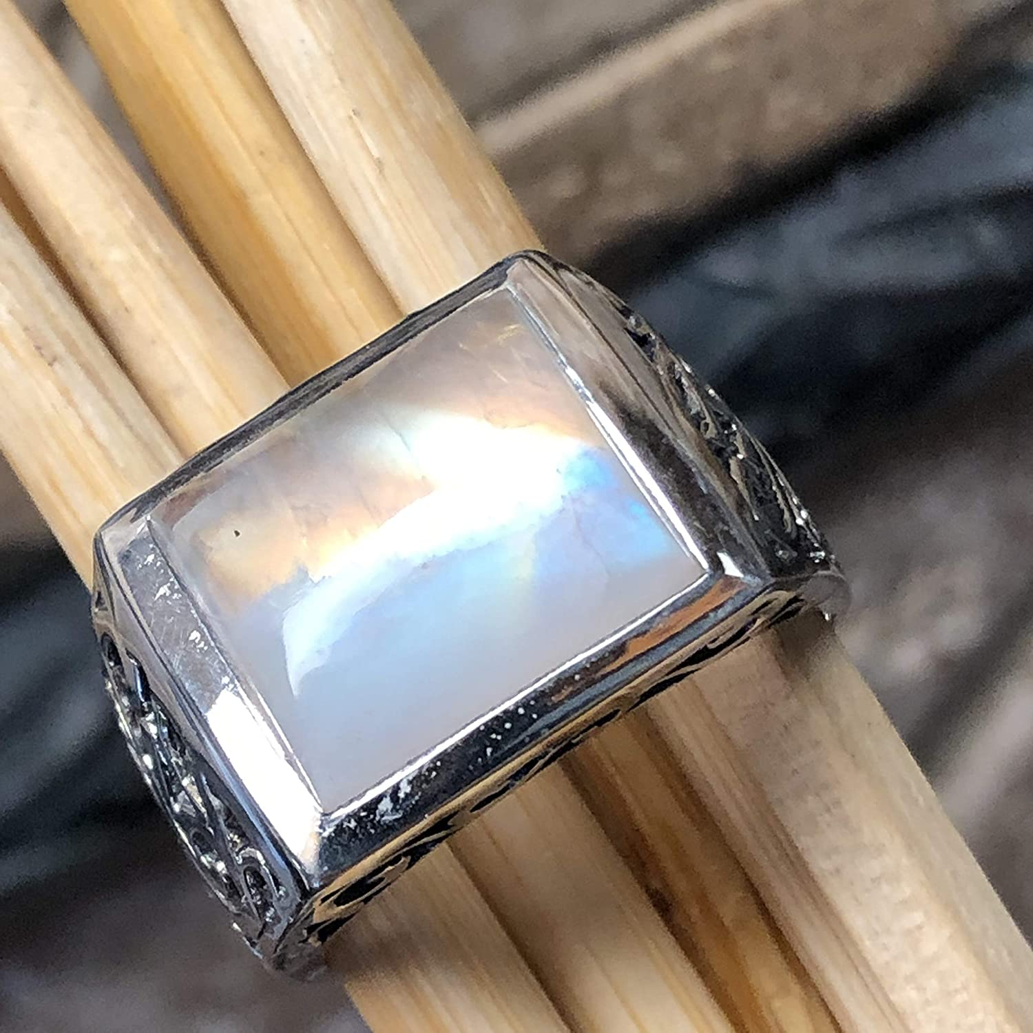 Details about  /Solid 925 Sterling Silver Natural Moonstone Gemstone Christmas Mens Ring B112