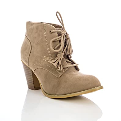 Women's G-Stich Laced Tassels Heeled Ankle Bootie