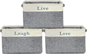 Sorbus Storage Basket Set [Pack 3] Large 15 x 10 x 9 Live Laugh and Love, Big Rectangular Fabric Collapsible Organizer Bins with Carry Handles for Easy Use (Storage Grey Bins - Lowercase Text)