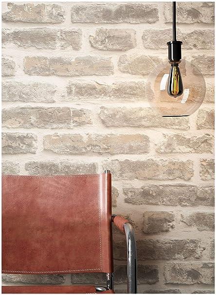 Steintapete Vliestapete Grau Creme, schöne edle Tapete im Steinoptik, moderne 3D Optik für Wohnzimmer, Schlafzimmer oder Küch