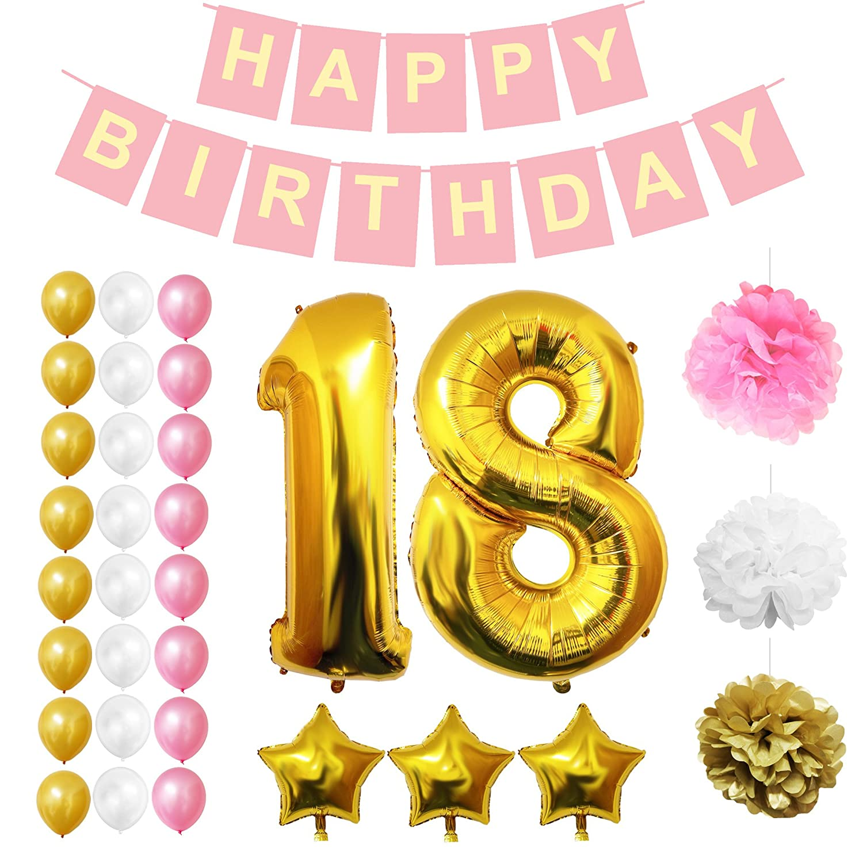 Amazon BELLE VOUS Happy 18th Birthday Decorations