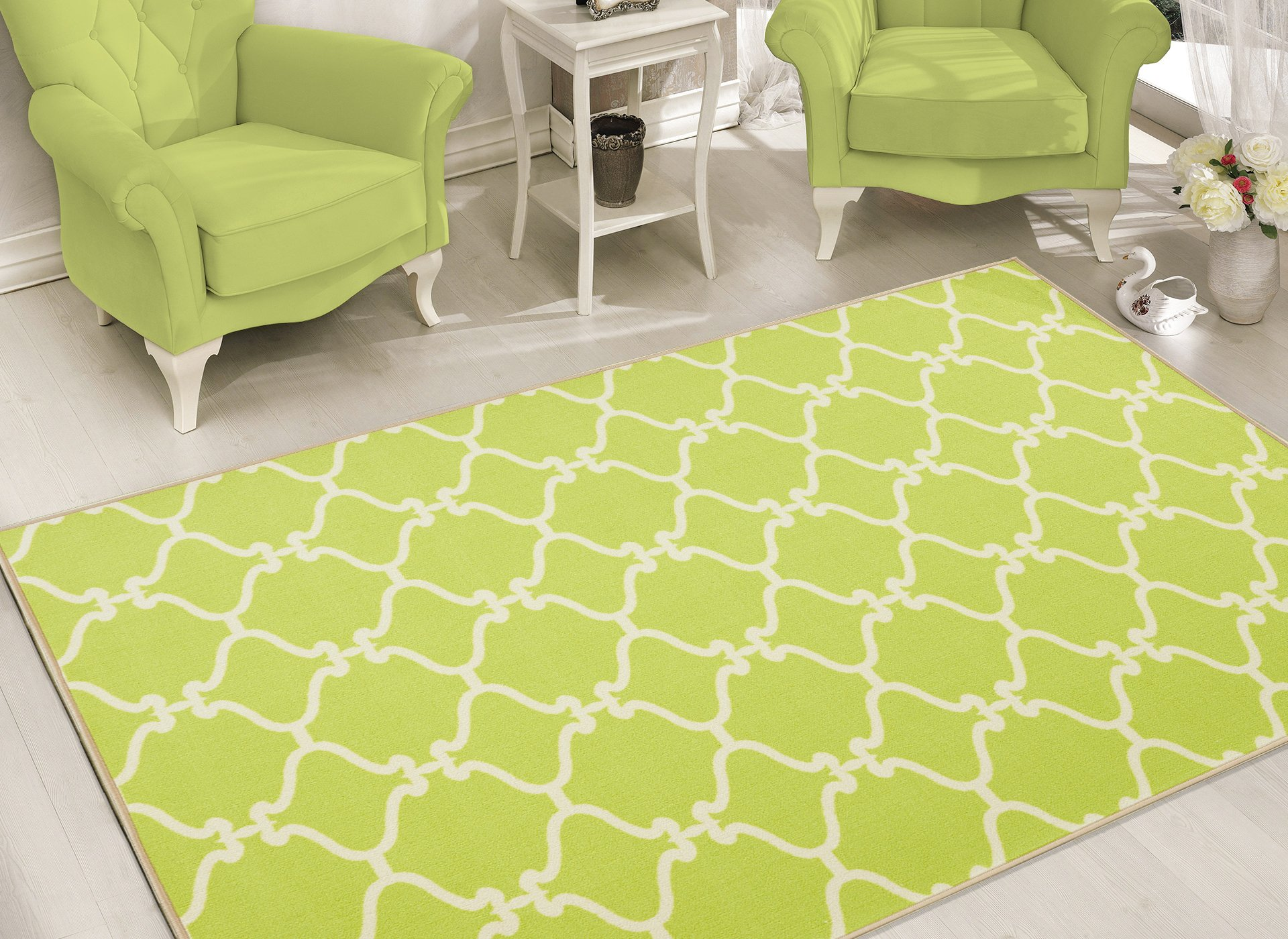 Sweet Home Stores Clifton Collection Moroccan Trellis Design Area Rug, Green by Sweet Home Stores