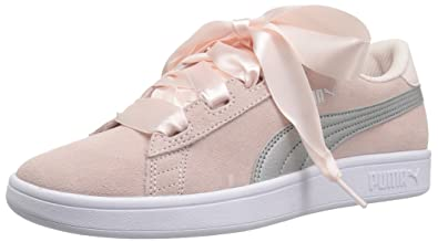 c63c782a9f4a3f PUMA Girls Smash v2 Ribbon Kids Sneaker