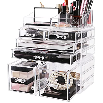 Amazoncom SONGMICS Large Makeup Organizer 3 Pieces Set Cosmetic