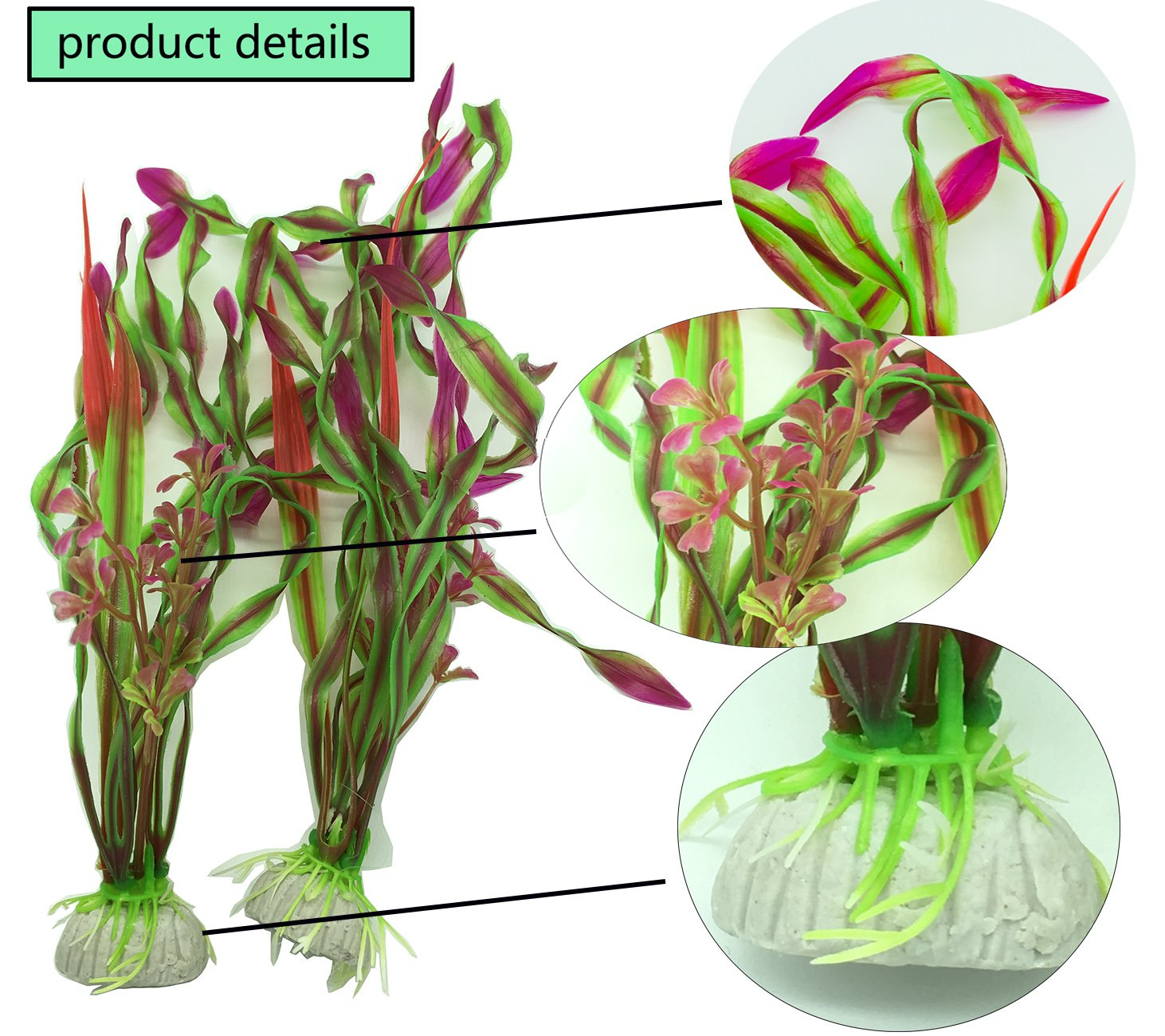 NiceButy 5 pieces of artificial aquatic plants plastic plant aquarium decoration vivid simulation plant biology aquarium landscape pink