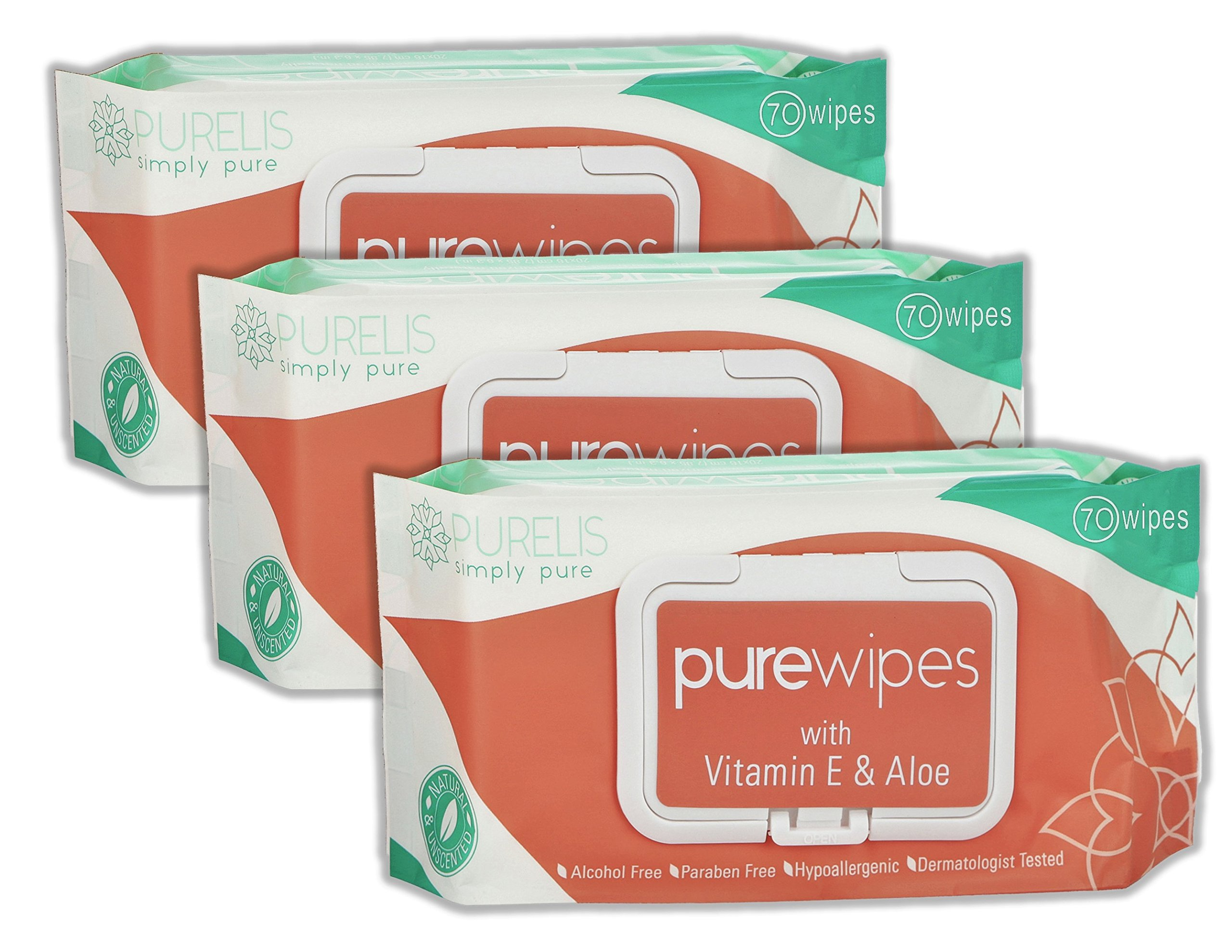 Natural Wet Wipes for Women & Kids -70 Sensitive Body Wipes for Intimate Care, Shower Wipes & Baby Wipes with Aloe Vera & Vitamin E! 3 Resealable Packs of Fresh Wipes on the Go!{210 Ultra Thick Wipes}