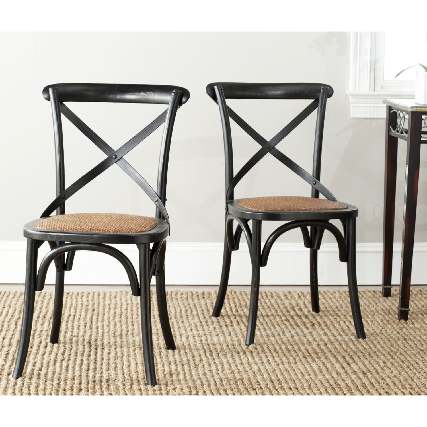 Amazon.com   Safavieh American Homes Collection Franklin Farmhouse X Back  Hickory Side Chair (Set Of 2)   Chairs