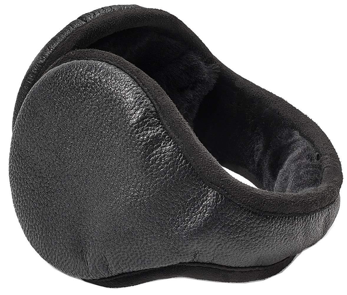 UGG Men's Water Resistant Wraparound Leather Earmuff Black One Size