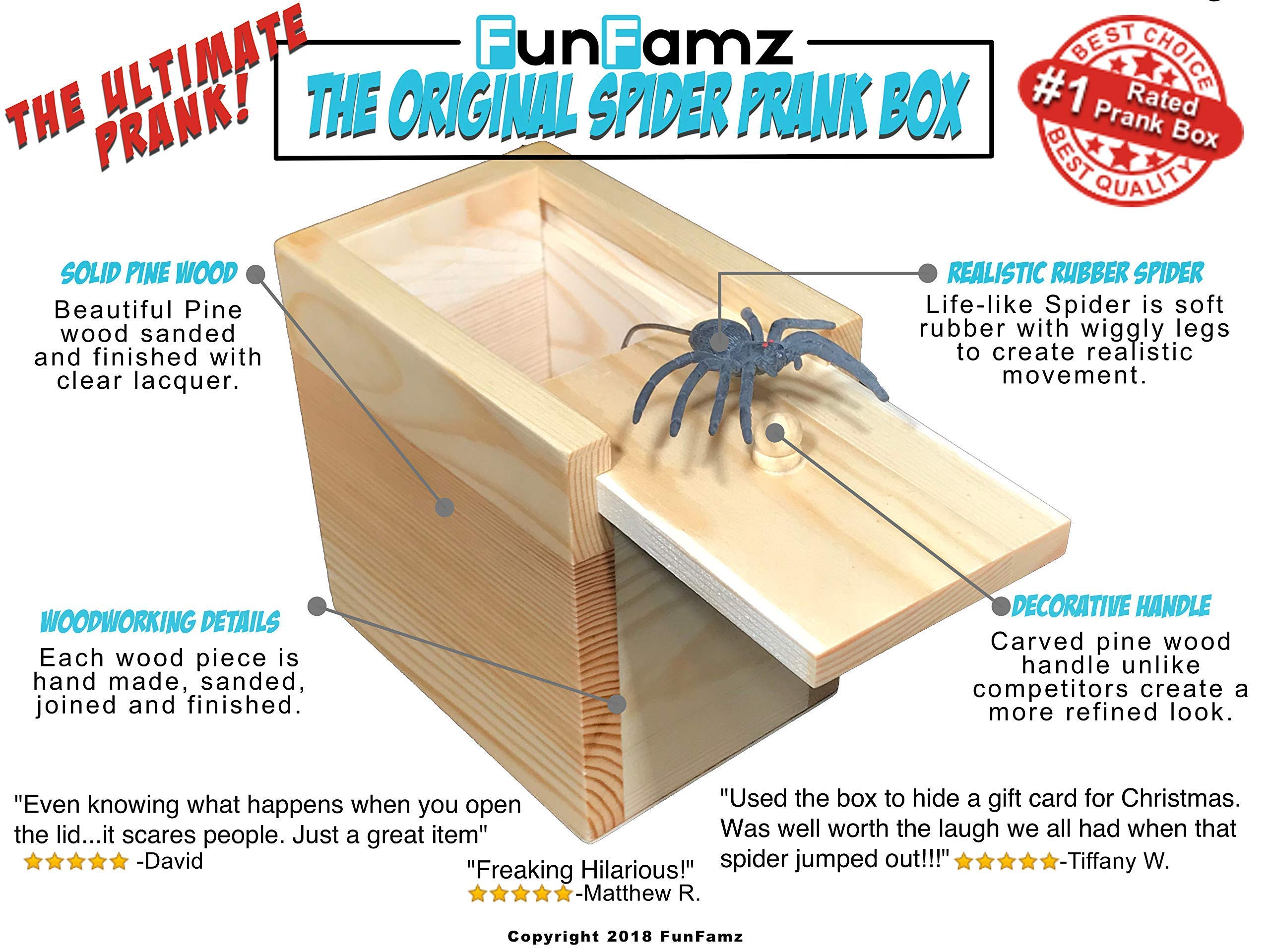 The Original Spider Prank Box- Hilarious Wooden Box Toy Prank, Funny Money Gift Box Surprise Toy, and Christmas Gag Gift Prank for Boys, Girls, Adults by FunFamz by FunFamz (Image #2)